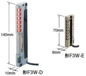 F3W-E 特長 1 ピッキングセンサF3W-Eは長さ70mm/厚さ8mmの超小型サイズ