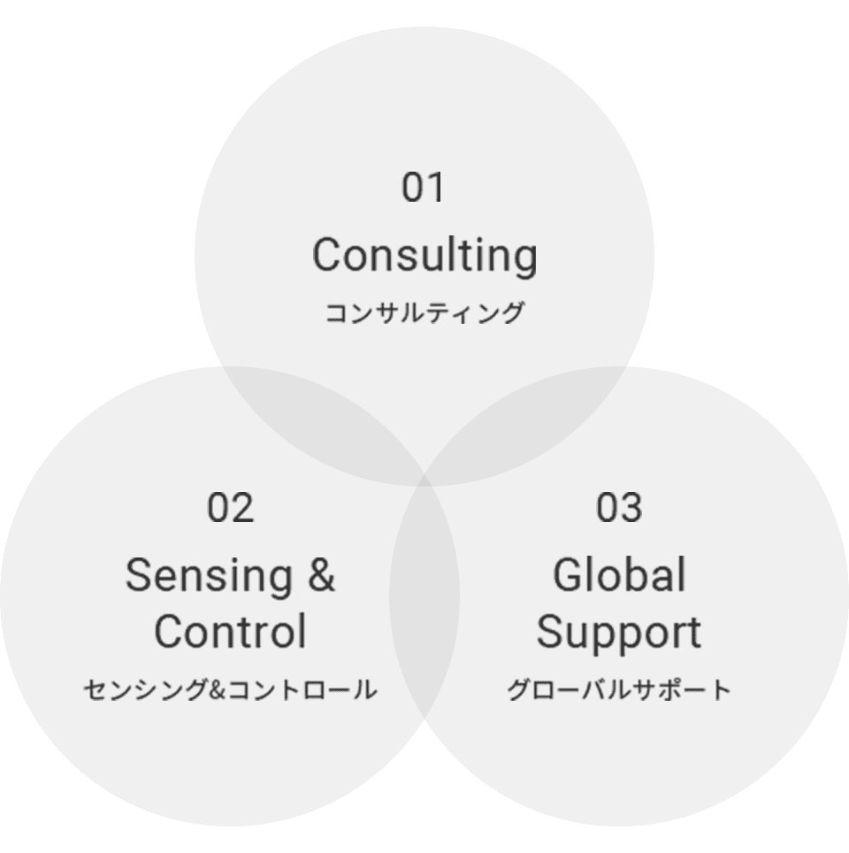 01 Consulting, 02 Sensing & Control, 03 Global Support